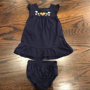 Carters navy embroidered dress and bloomers 6m